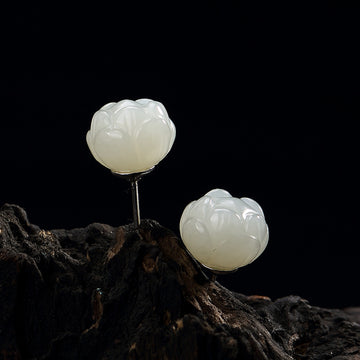 White Lotus Flower Jade Silver Ear Studs
