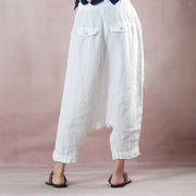 White Casual Women Summer Pants