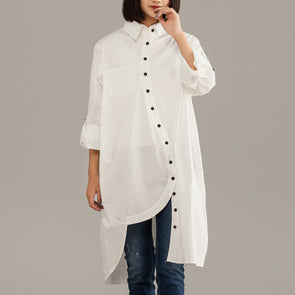 White Cotton Polyester Irregular Long Sleeve Shirt