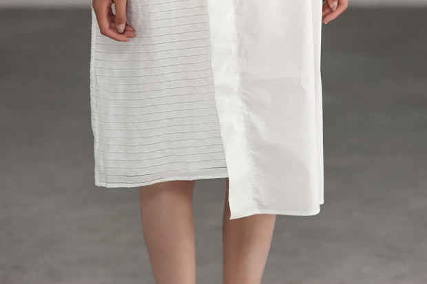 White Irregular Summer Loose Shirt Dress