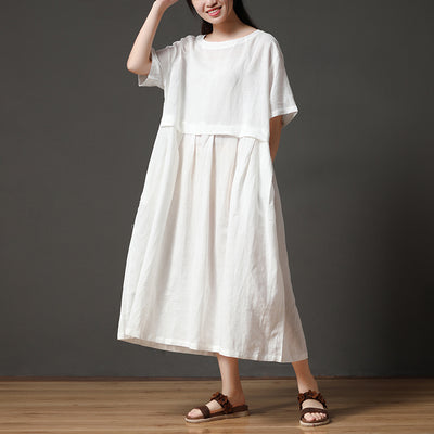 White Linen Short Sleeves Round Neck Autumn Long Dress