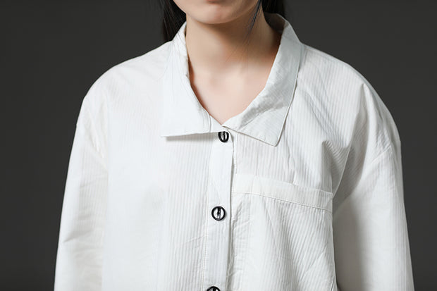 White Long Sleeve Cotton Casual Shirt Dress