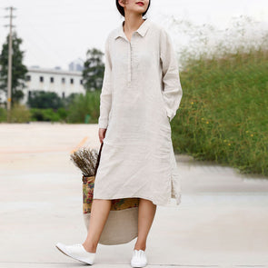White Long Sleeve Linen Casual Autumn Dress