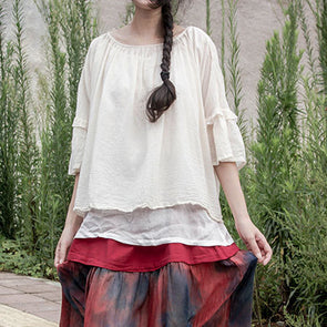 White Loose Cotton Women Summer Pullover Blouse