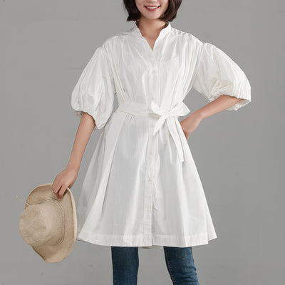 White Pleated Casual Single Breasted Blouse