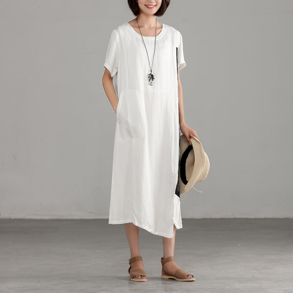 White Splicing Casual Cotton Linen Loose Dress