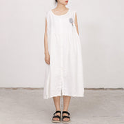 White Summer Sleeveless Embroidered Linen Dress