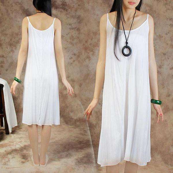 Women Splicing Summer Dress Loose Cotton with Pocket