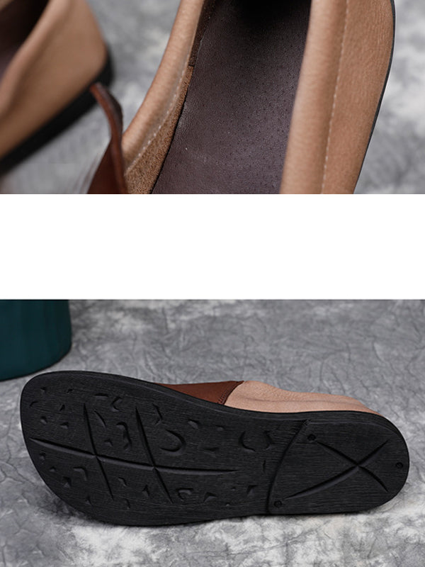 Winter Casual Color Matching Leather Shoes