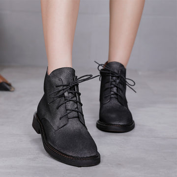 Winter Casual Lacing Retro Leather Boots