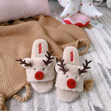 Winter Christmas Elk Velvet Warm Slippers
