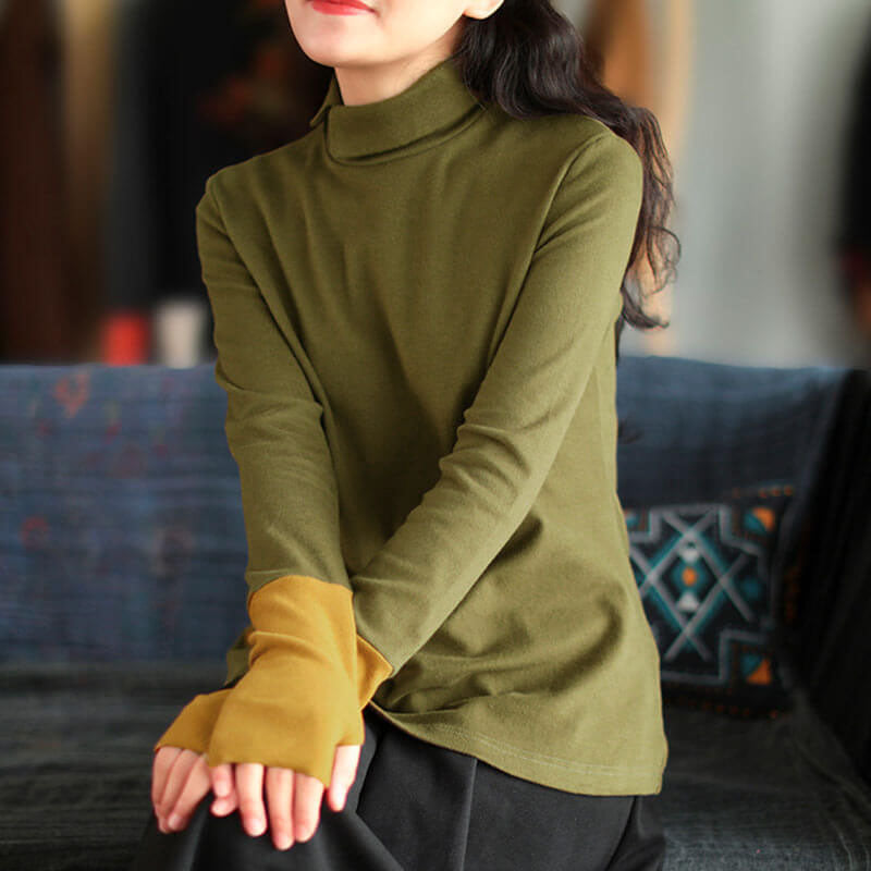 Winter Color Stitching Turtleneck Women Top