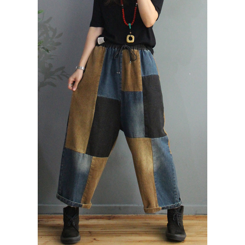 Winter Corduroy Denim Stitching Pants