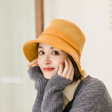 Winter Corduroy Leather Stitching Hat