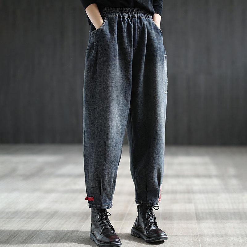 Winter Elastic Waist Patchwork Pocket Jeans