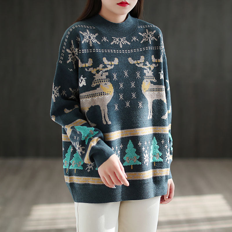 Winter Elk Christmas Trees Knitted Sweater