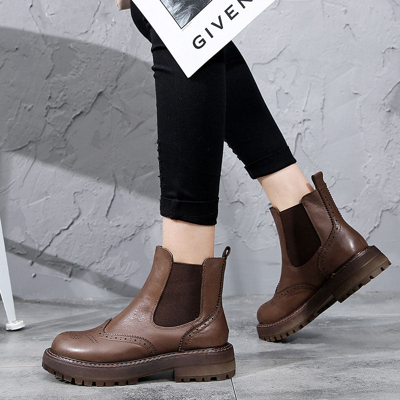 Winter Female Elastic Band Leather Boots