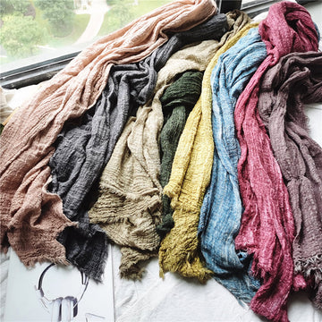 Winter Female Pure Color Fold Scarf