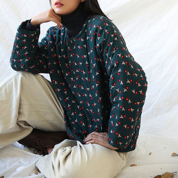 Winter Floral Thick Warm Cotton Top
