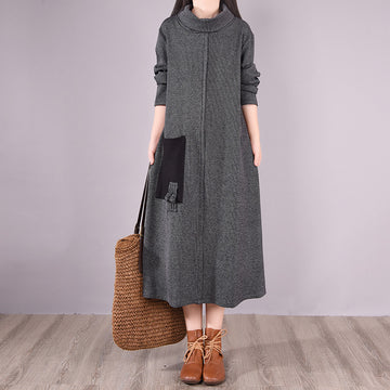 Winter Knitted Casual Big Pocket Turtleneck Dress