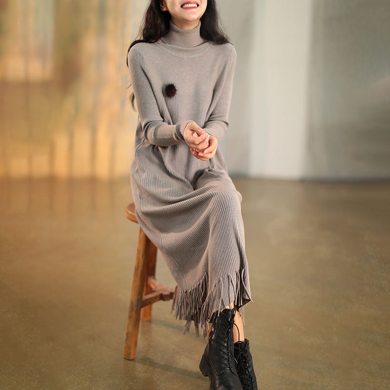 Winter Knitted Pure Color Tassel Dress