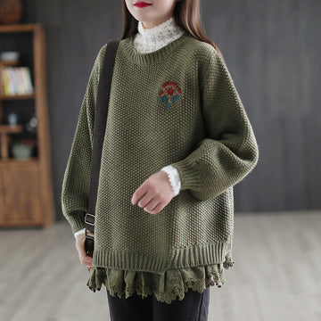 Winter Lace Stitching Floral Embroidered Sweater