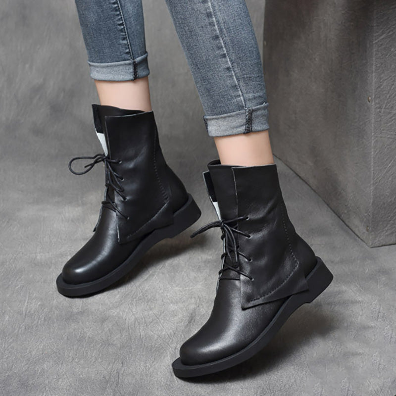 Winter Lacing Pure Color Leather Boots