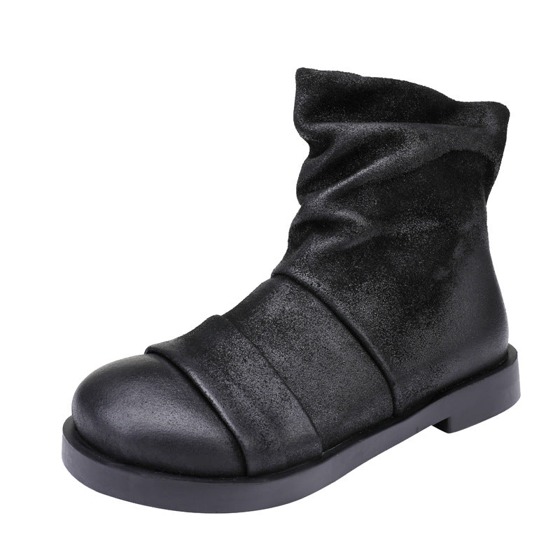 Winter Leather Retro Pure Color Boots