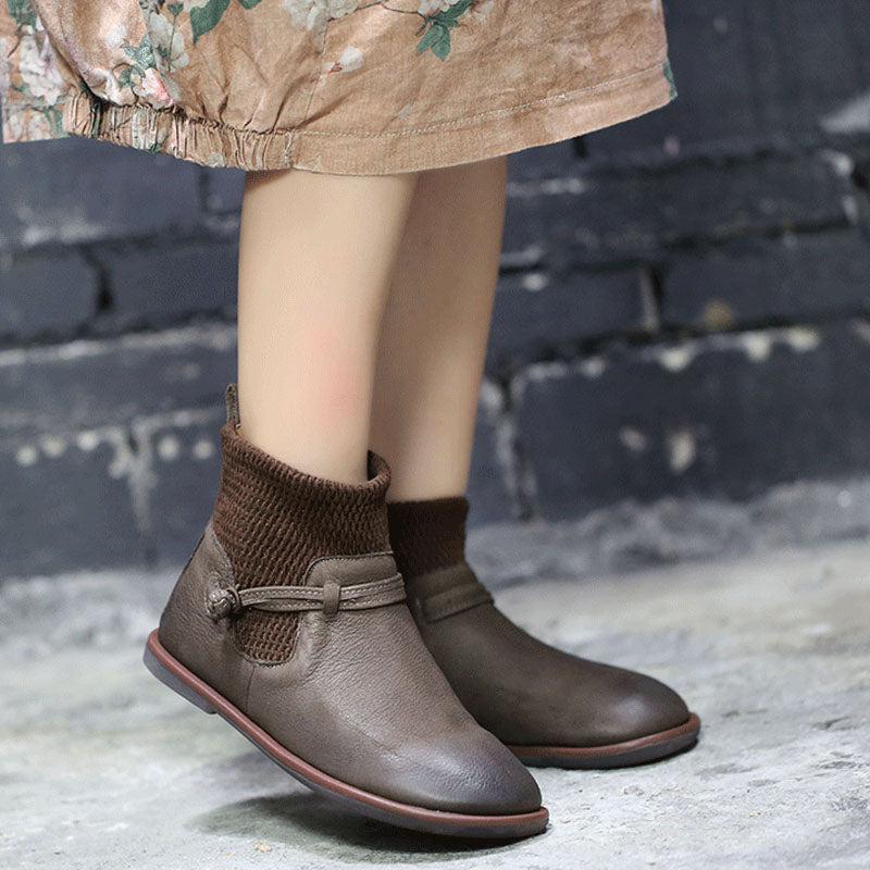 Winter Leather Round Toe Flat Boots