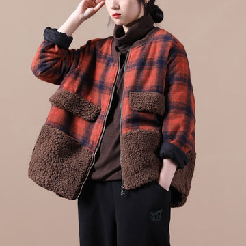 Winter Loose Lambswool Plaid Stitching Coat