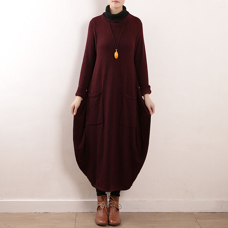 Winter Loose Pocket Knitted Turtleneck Dress