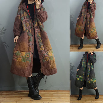 Winter Loose Retro Thick Floral Hooded Coat