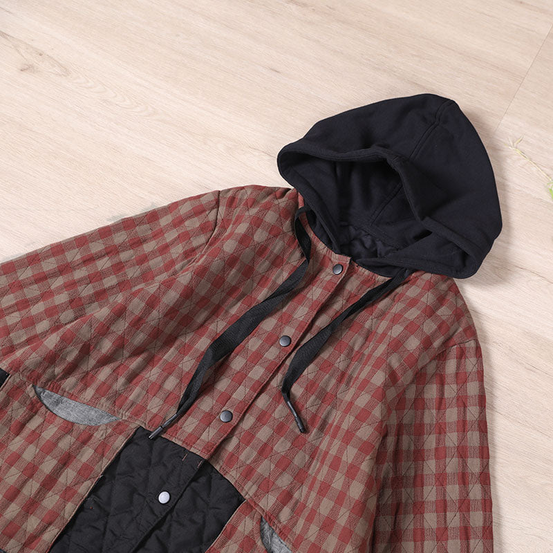 PLUS Size - Winter Plaid Hooded Drawstring Warm Coat