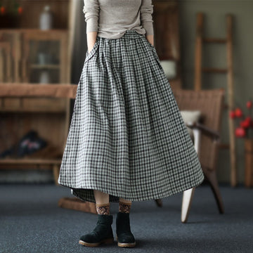 Winter Plaid Pocket Elastic Waist Skirt