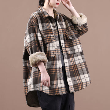 Winter Plaid Thicken Plush Shirt Coat