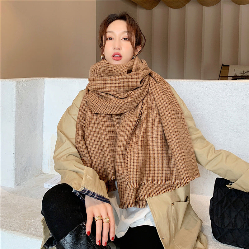 Winter Plaid Warm Unisex Pashmina Scarf