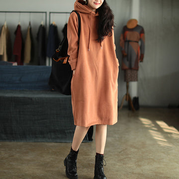 Winter Plus Plush Thick Hooded Drawstring  Dress