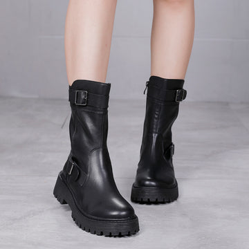 Winter Pure Color Buckle Mid-calf Leather Boots
