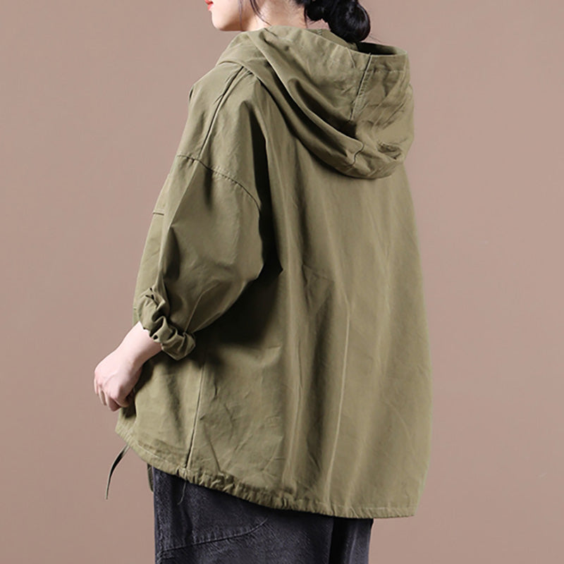 Plus Size - Winter Pure Color Drawstring Hoodie