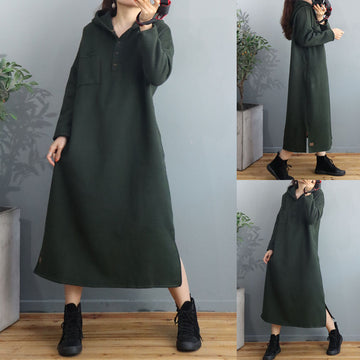 Winter Pure Color Hooded Loose Dress