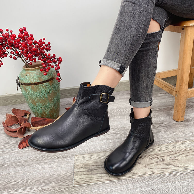 Winter Pure Color Leather Buckle Boots