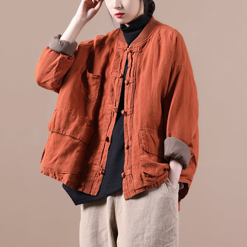 Plus Size - Winter Pure Color Pocket Retro Coat