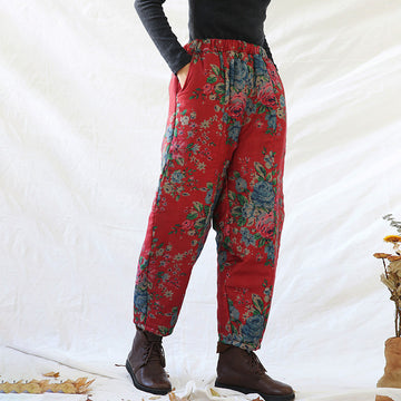 Winter Retro Floral Pocket Thick Warm Pants