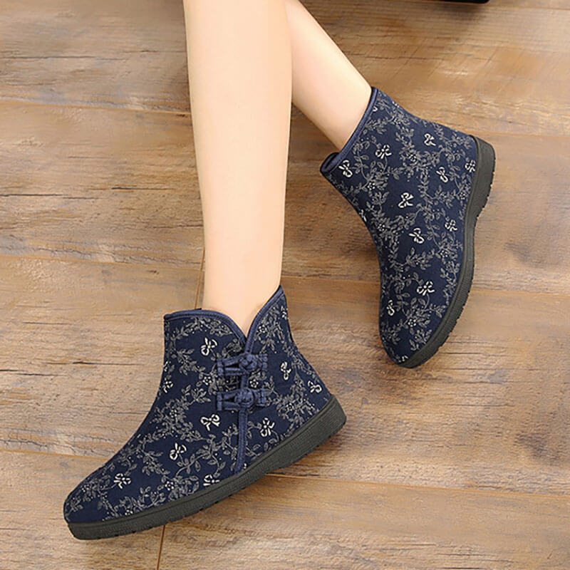 Winter Retro Floral Warm Short Boots