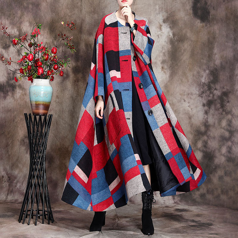 Winter Retro Loose Plaid Felt Single Breasted Coat