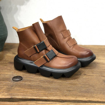 Winter Retro Round Toe Buckle Leather Boots