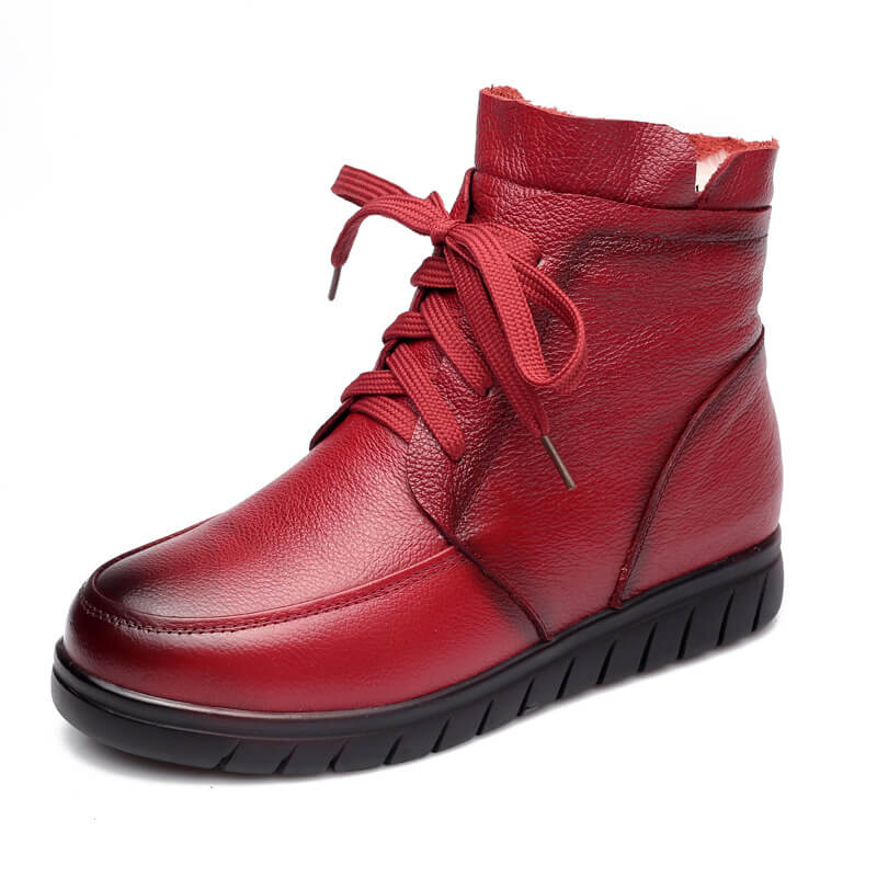Winter Retro Zipper Lace-up Warm Boots