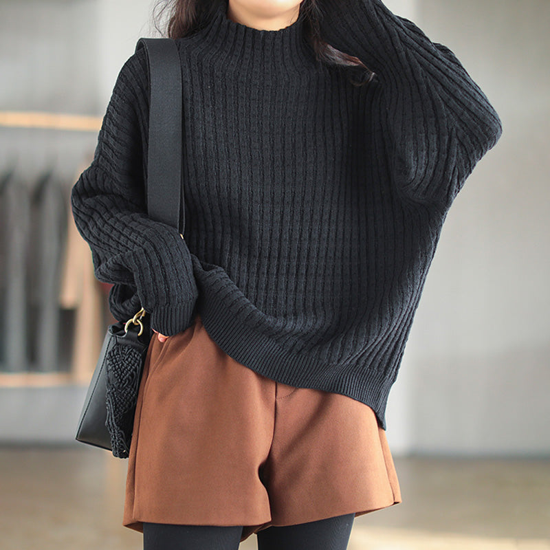 Winter Solid Color Knitted Turtleneck Sweater