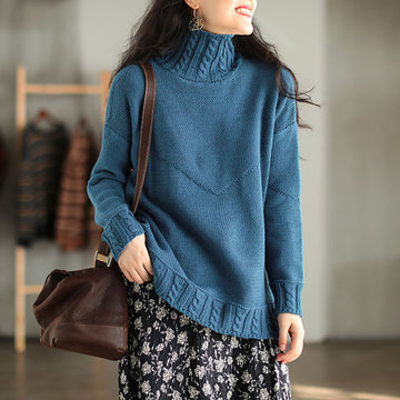 Winter Solid Color Stitching Turtleneck Sweater