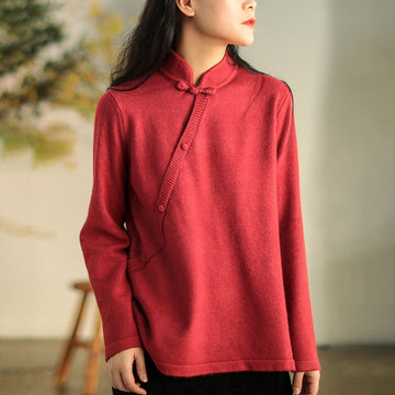 Stand Collar Pure Color Sweater